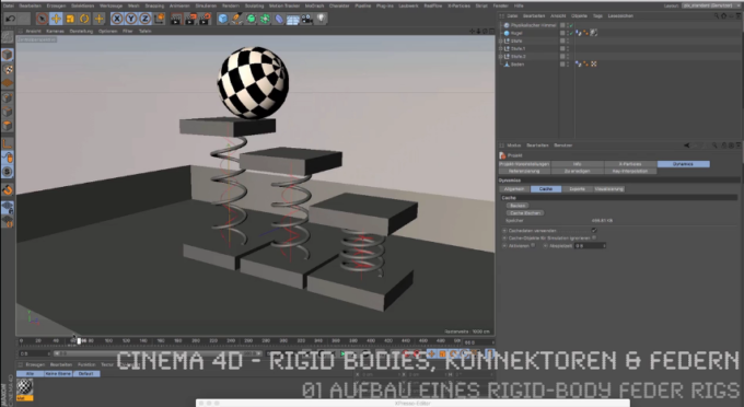 Cinema 4D-Tutorial: Rigid Bodies, Konnektoren & Federn