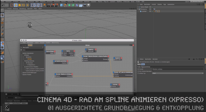 Cinema 4D-Tutorial: Rad am Spline animieren mit XPRESSO