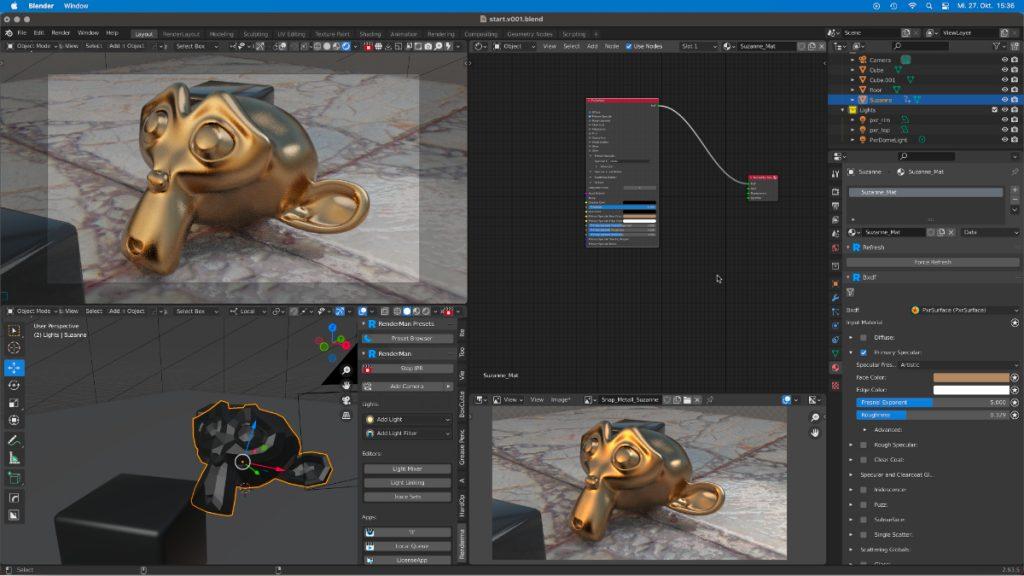 RenderMan 24.1 in Blender 2.93 LTS