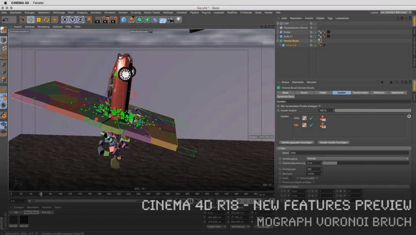 CINEMA 4D R18 - New Features Preview - MoGraph Voronoi Bruch Objekt